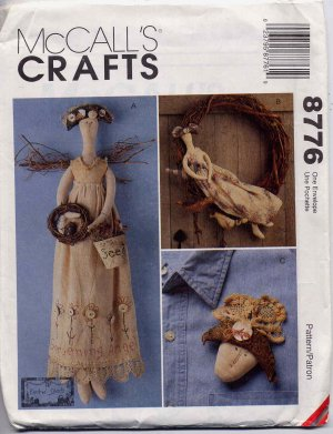 Lovely Primitive Gardening Angel Doll, Wreath and Pin McCalls 8776 UNCUT