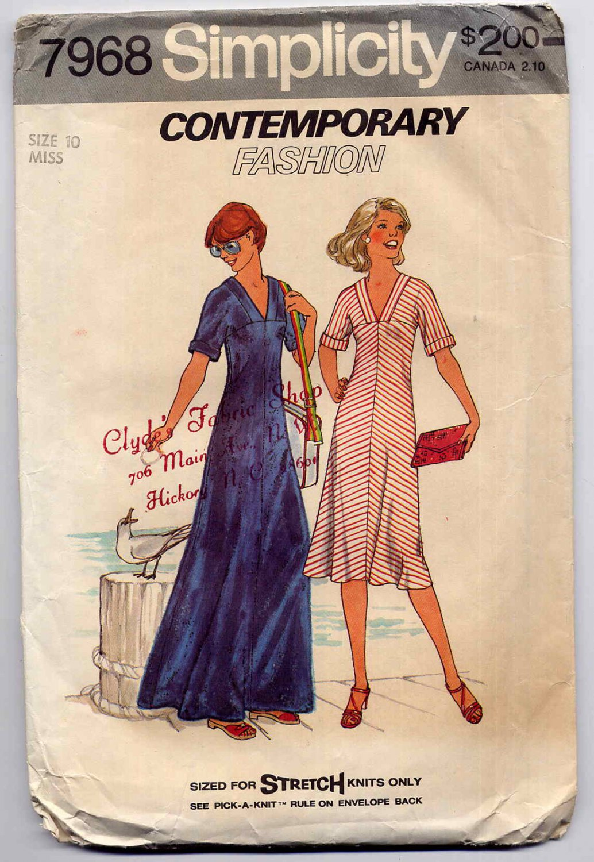 Vintage 70s V Neck Flared Dress Sewing Pattern Simplicity 7968--Bust 32.5