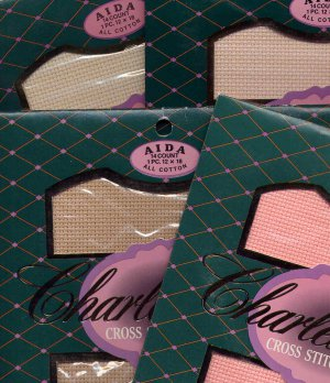Lot of 4 Charles Craft 14 Aida Cloth NIP Peach Beige Blush Natural 12x18
