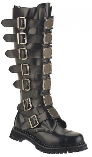 """Reaper"" - Men's Knee High Combat Boots with Buckles & Plate Accents"