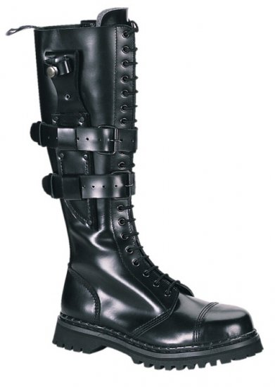 """Predator"" - Men's Knee High Lace Up Leather Combat Boots with Buckled Knife Sheath"