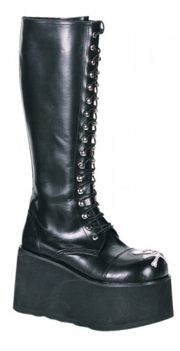 """Dare"" - Men's Knee High Platform Boots with Front Skull Design"