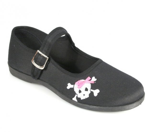 """""""Sassie"""" - Women's Canvas Mary Jane Style Shoes with Skull Design"""