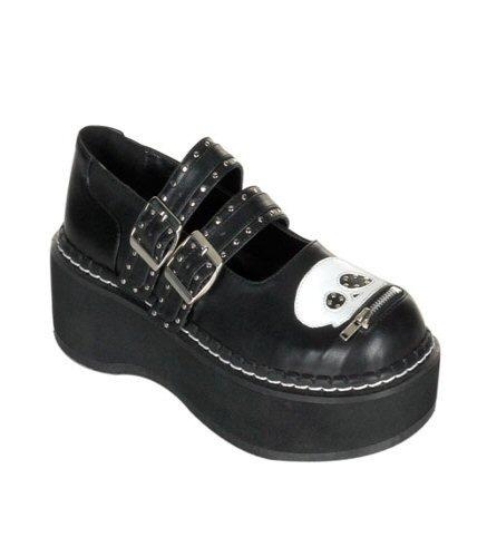 "Emily - Women's Goth 2"" Platform Black M/J Shoe W/Zipper Skull Head"