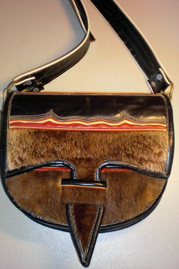 Ecuador One-of-a-Kind Fur/Leather Messenger/Cross body purse