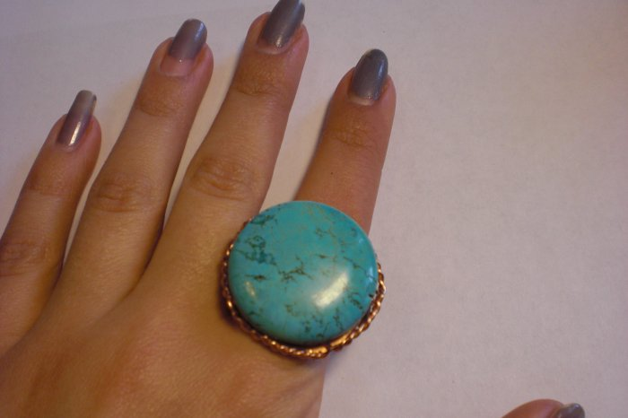 One of a kind, brass and turquoise ring! Hand made!