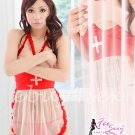 Fee Sexy High quality Red Nurse nurse role play costume adult cosplay dress lingerie G string FS115