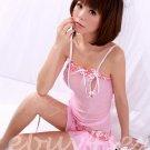 Fee Sexy High quality gauze lace Pink babydoll lingerie ladies underwear sleepwear G string FS140