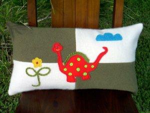 Dino Wool Felt Pillow