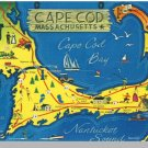 Striking CAPE COD, MASS/MA POSTCARD, Map