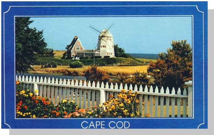 CAPE COD, MASS/MA POSTCARD, Windmill/White Picket Fence