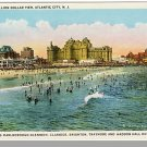 ATLANTIC CITY, NEW JERSEY/NJ POSTCARD,Beach/Hotels/Pier
