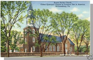 Nice WILLIAMSBURG, VIRGINIA/VA  POSTCARD, Bruton Church