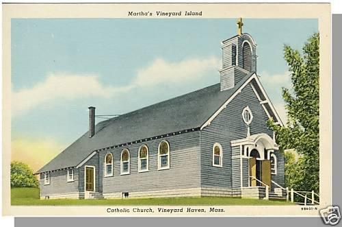 MARTHA'S VINEYARD, MASS/MA POSTCARD, Catholic Church