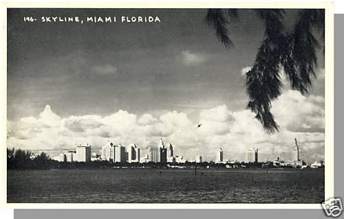 MIAMI, FLORIDA/FL POSTCARD, Skyline,Black & White Photo