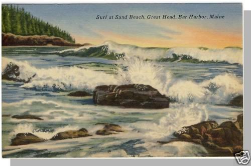 BAR HARBOR, MAINE/ME POSTCARD, Sand Beach/Great Head