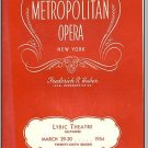 1954 LYRIC THEATER, Metropolitan Opera, Baltimore, MD