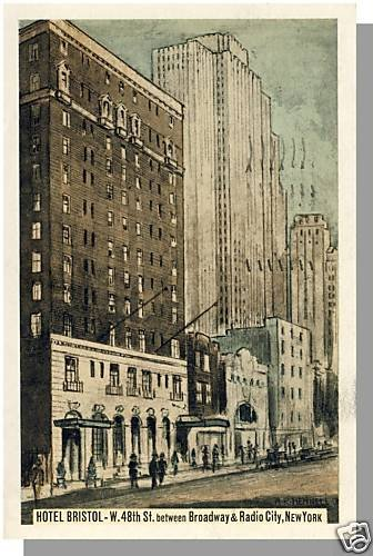 Beautiful NEW YORK/NY POSTCARD, Hotel Bristol, 1938