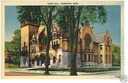 Nice FAIRHAVEN, MASS/MA POSTCARD, Town Hall