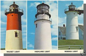 EASTHAM/TRURO/WOODS HOLE, MASS/MA POSTCARD, Lighthouses