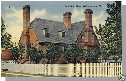 WILLIAMSBURG, VIRGINIA/VA POSTCARD, The Public Gaol