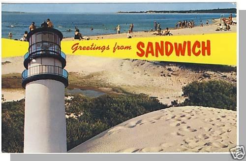 SANDWICH, MASS/MA POSTCARD, Greetings/Lighthouse/Beach