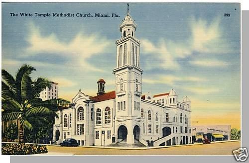 MIAMI, FLORIDA/FL POSTCARD,White Temple Methdist Church