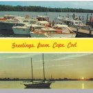 Nice CAPE COD, MASS/MA POSTCARD, Greetings/Boats/Sunset