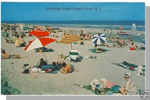 OCEAN GROVE, NEW JERSEY/NJ POSTCARD, Bathers On Beach