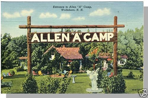 "WOLFEBORO, NEW HAMPSHIRE/NH POSTCARD, Allen ""A"" Camp"