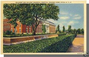 Nice UTICA, NEW YORK/NY POSTCARD, Masonic Home/Hospital