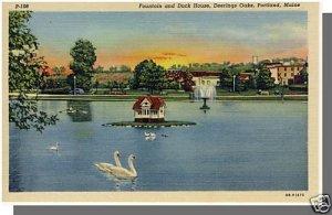 PORTLAND, MAINE/ME POSTCARD, Deerings Oaks Fountain