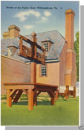 WILLIAMSBURG, VIRGINIA/VA POSTCARD, Stocks/Public Gaol