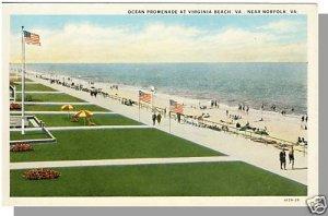 NORFOLK, VIRGINIA/VA  POSTCARD,Virginia Beach Promenade