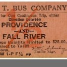 ICT BUS COMPANY TICKET,Providence, RI to Fall River, MA