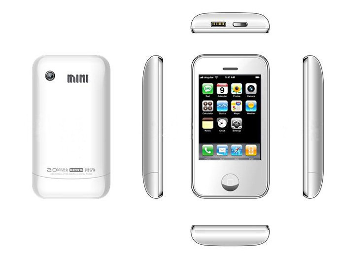 White Color KA08 Unlocked Cell Phone AT&T-Mobile Dual SIM Quad band Mobile Phone (Free Shipping)