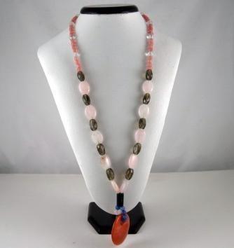 Bohemian Style Natural gemstone Necklace Black & Pink.