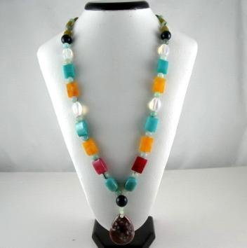 Bohemian Style Natural gemstone multicolor Necklace NEW