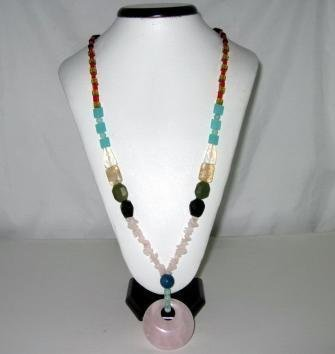 Bohemian Style Natural gemstone (Pink) Pendant Necklace