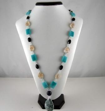 Multicolor Bohemian Natural gemstone Necklace (blue)
