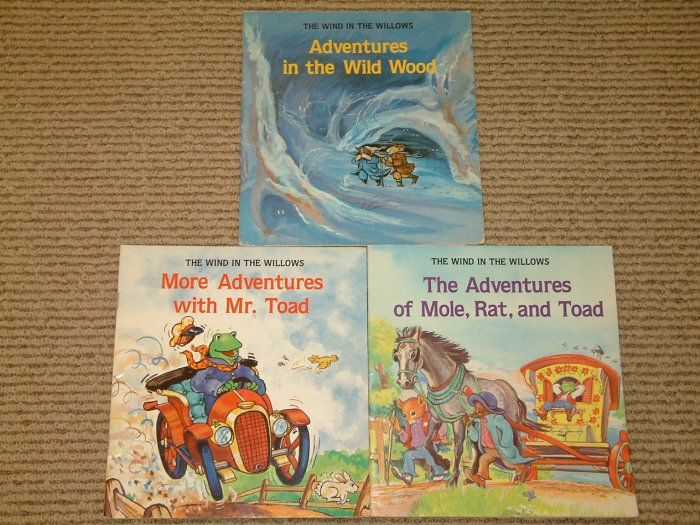 3 Wind in the Willows books The Adventures of Mole Rat and Toad