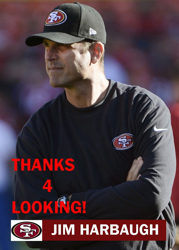JIM HARBAUGH 2012 SAN FRANCISCO 49ERS FOOTBALL CARD