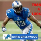 CHRIS GREENWOOD 2013 DETROIT LIONS FOOTBALL CARD