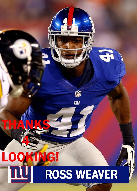 ROSS WEAVER 2014 NEW YORK GIANTS FOOTBALL CARD