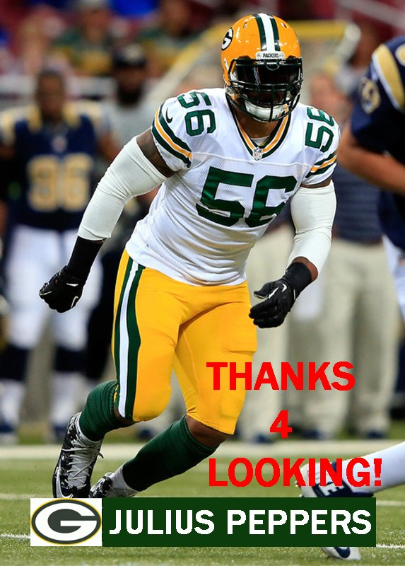 JULIUS PEPPERS 2014 GREEN BAY PACKERS FOOTBALL CARD