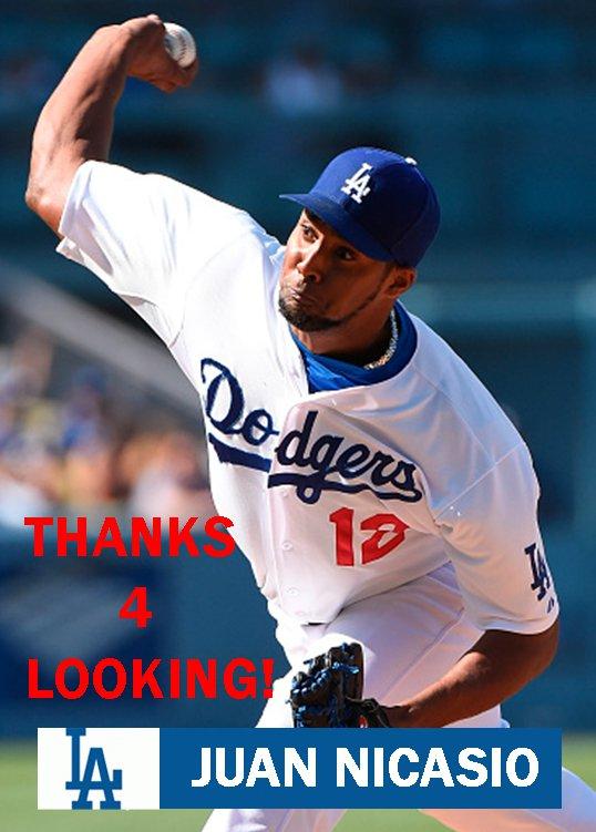 JUAN NICASIO 2015 LOS ANGELES DODGERS  BASEBALL CARD