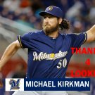 MICHAEL KIRKMAN 2016 MILWAUKEE BREWERS BASEBALL CARD