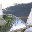 OUTDOOR - PATIO/DECK FURNITURE (FOUR CHAIRS AND ONE TABLE (GLASS TOP))