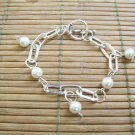Silver Chain and White Pearl Bracelet