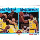 MAGIC JOHNSON / JOHN STOCKTON 91-92 HOOPS LEAGUE LEADERS #312